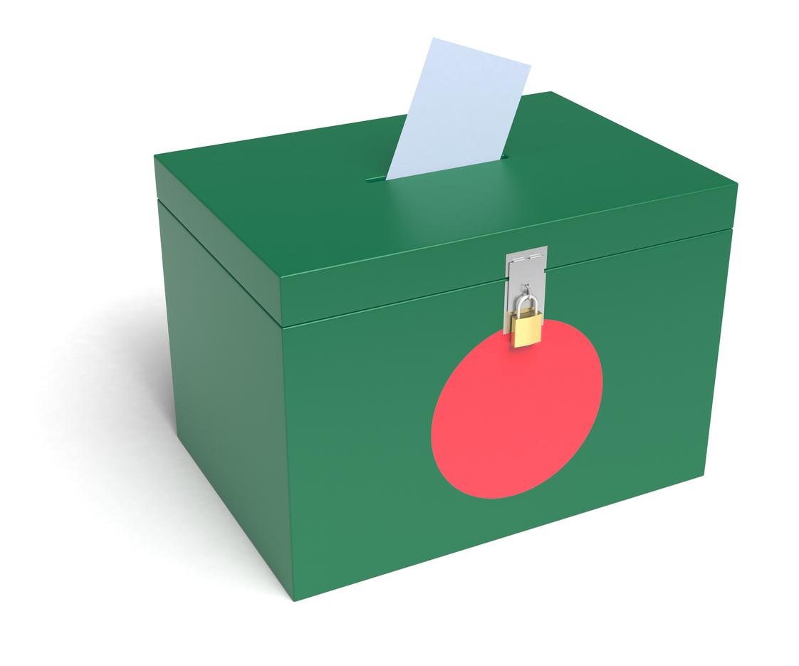 Bangladesh Flag Ballot Box. 3D Rendering. Photo: iStock