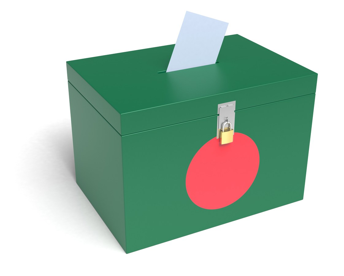 Bangladesh Flag Ballot Box. 3D Rendering. Photo: iStock