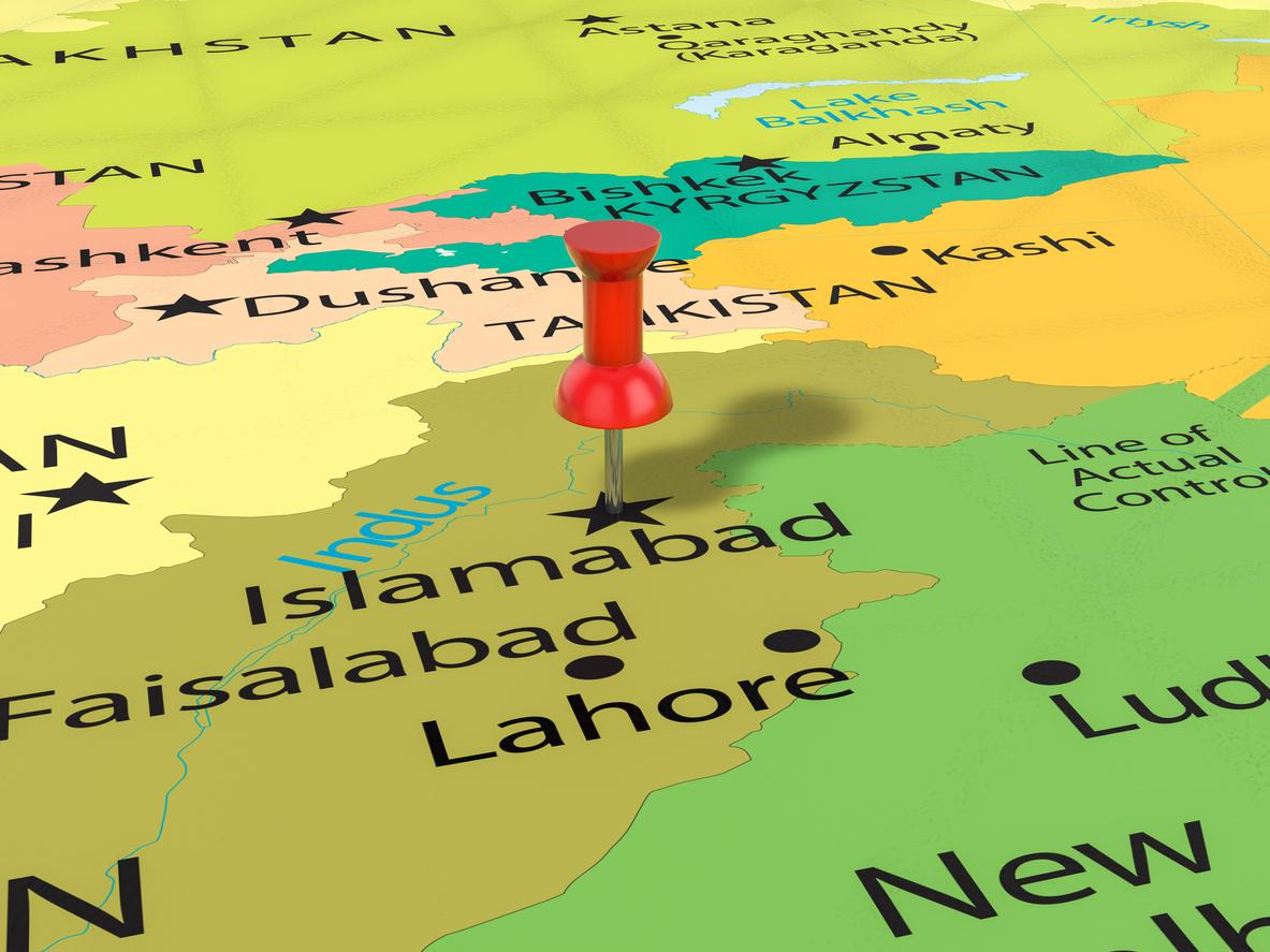 Pushpin on Islamabad map background. 3d illustration. Photo: iStock
