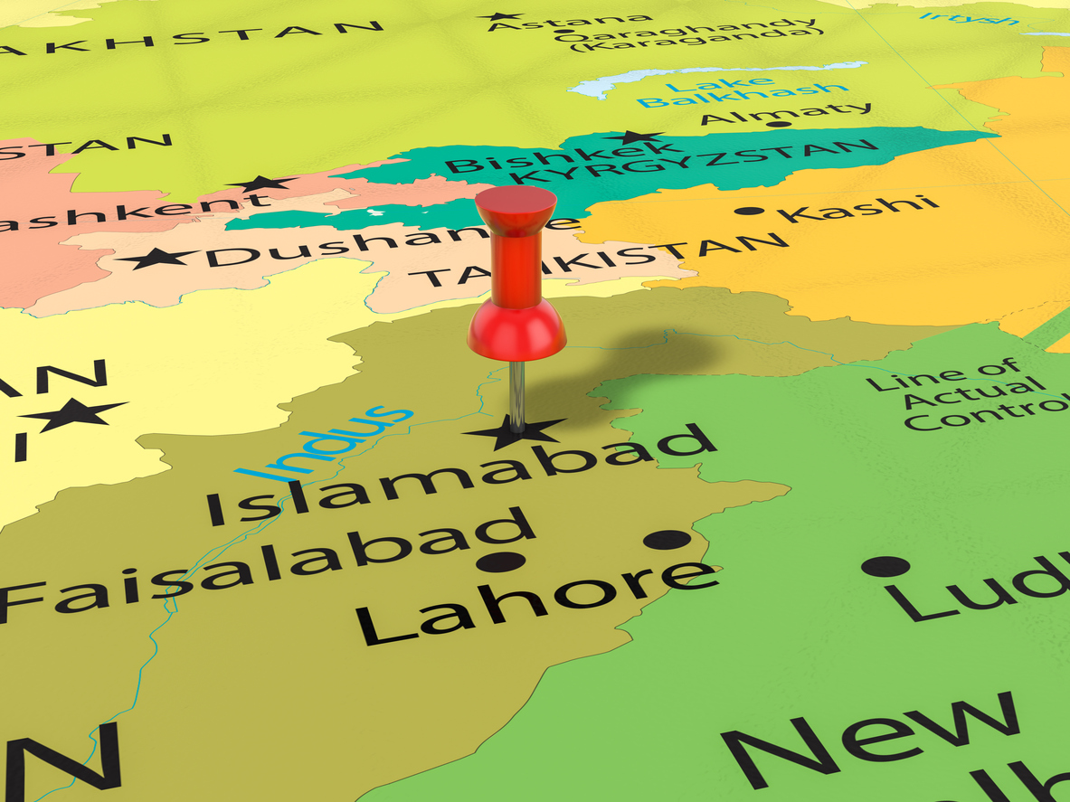 Pushpin on Islamabad map background. 3d illustration. Photo: iStock