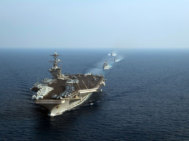 The USS Theodore Roosevelt leads US and Singapore navy ships in the South China Sea on April 6. The US carrier is due to be deployed with the US 7th Fleet area for maritime security operations. A training exercise on April 10 came ahead of a port call in the Philippines, one of several nations which disputes Beijing's claim to the strategic waters. Photo: AFP/ US Navy/ Anthony J Rivera