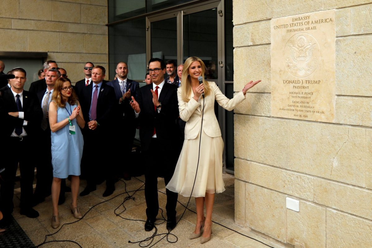 Ivanka Trump and US Treasury Secretary Steven Mnuchin stand next to the dedication plaque at the US embassy in Jerusalem, during the dedication. Photo: Reuters/Ronen Zvulun