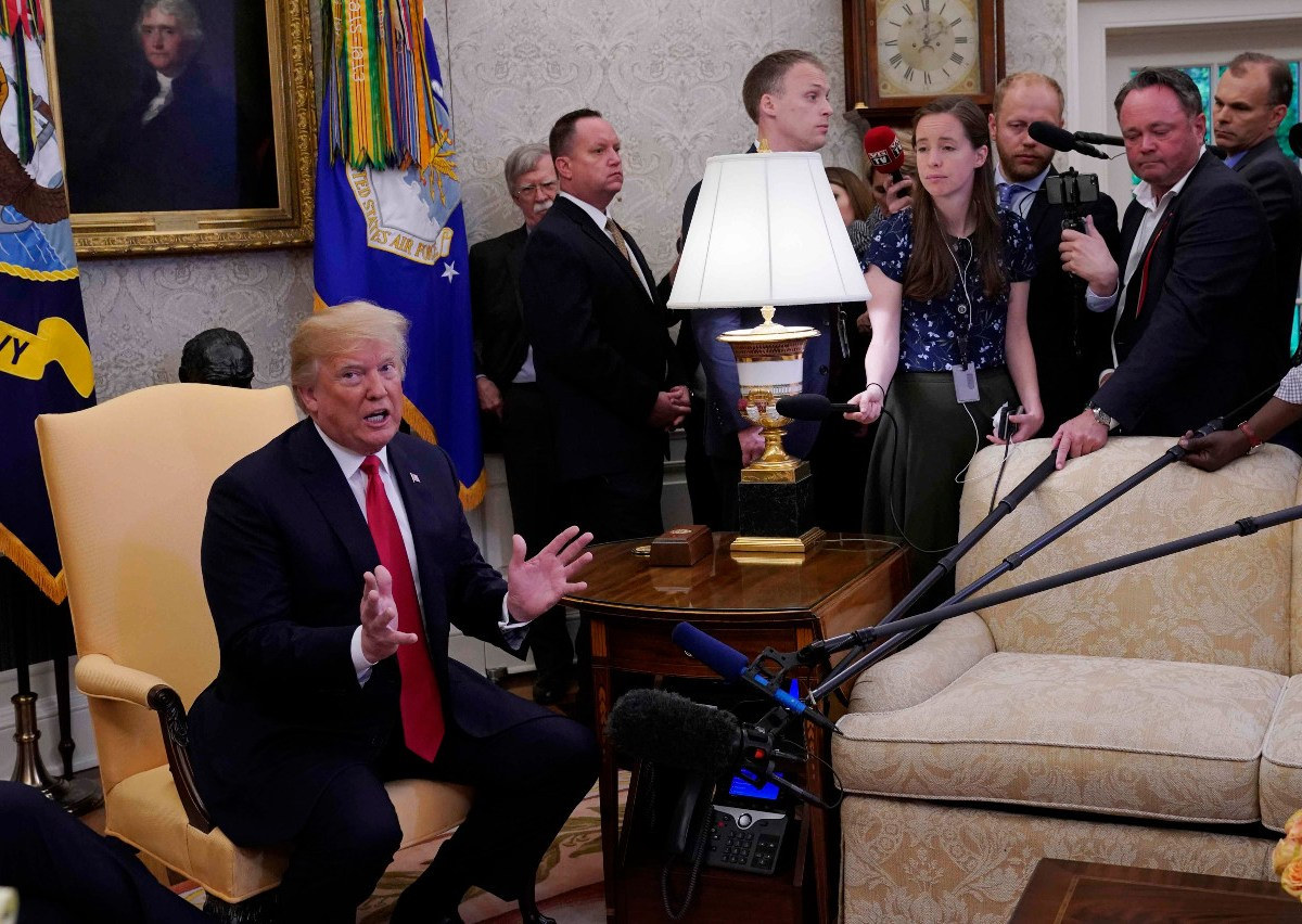 US President Donald Trump speaks during a meeting with NATO Secretary General Jens Stoltenberg in the Oval Office on Thursday. Photo: Reuters/Kevin Lamarque