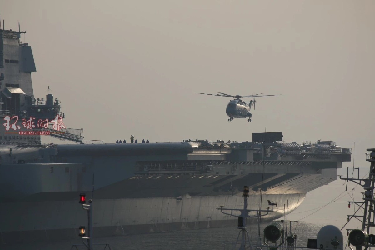 A Z-18 transport helicopter is seen landing on the Chinese aircraft carrier in this photo taken on May 5, 2018. Photo: Global Times