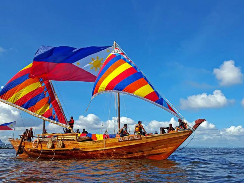 One of the balangay, Sultan Sin Sulu, at sea. Photo: Philippine Balangay Expedition Team