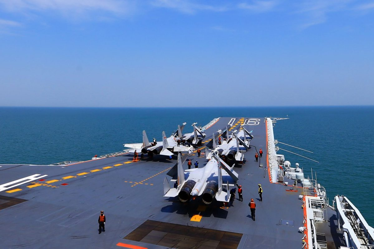 J15 fighter jets on China's sole operational aircraft carrier, the Liaoning, during a drill at sea in April 23, 2018. Photo: AFP