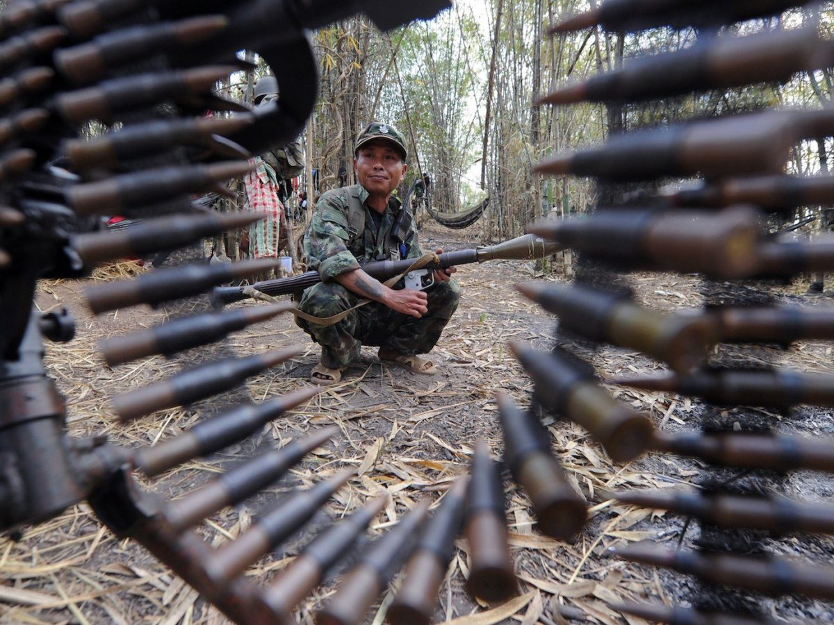 A Karen insurgent soldier holds a rocket launcher while standing guard at Oo Kray Kee village in Karen State near the Thai-Myanmar border in a file photo. Photo: AFP/Pornchai Kittiwongsakul