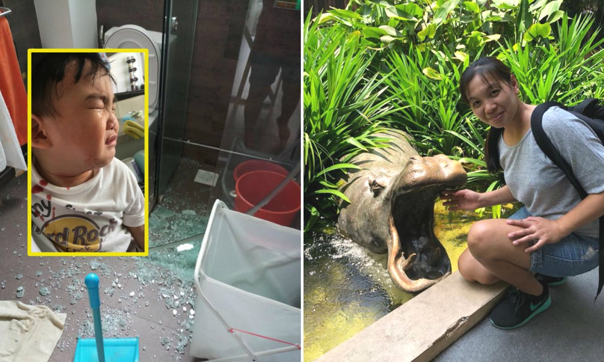 Filipino Sheryl (right) carried the crying boy (inset) out  of a bathroom whose floor was covered in broken glass. Photos: Facebook / PeiRong 'nohsslw