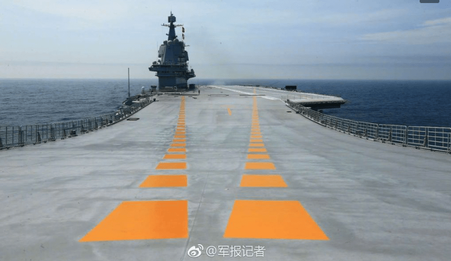 A view of the flight deck and the island of China's domestically built carrier during the vessel's first sea trial. Photo: Weibo via PLA Daily