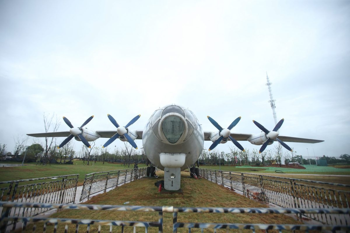 A Chinese Shaanxi Y-8 transport plane on display at a military theme park in Nanchang city in China's Jiangxi province on August 1, 2017. Photo: AFP