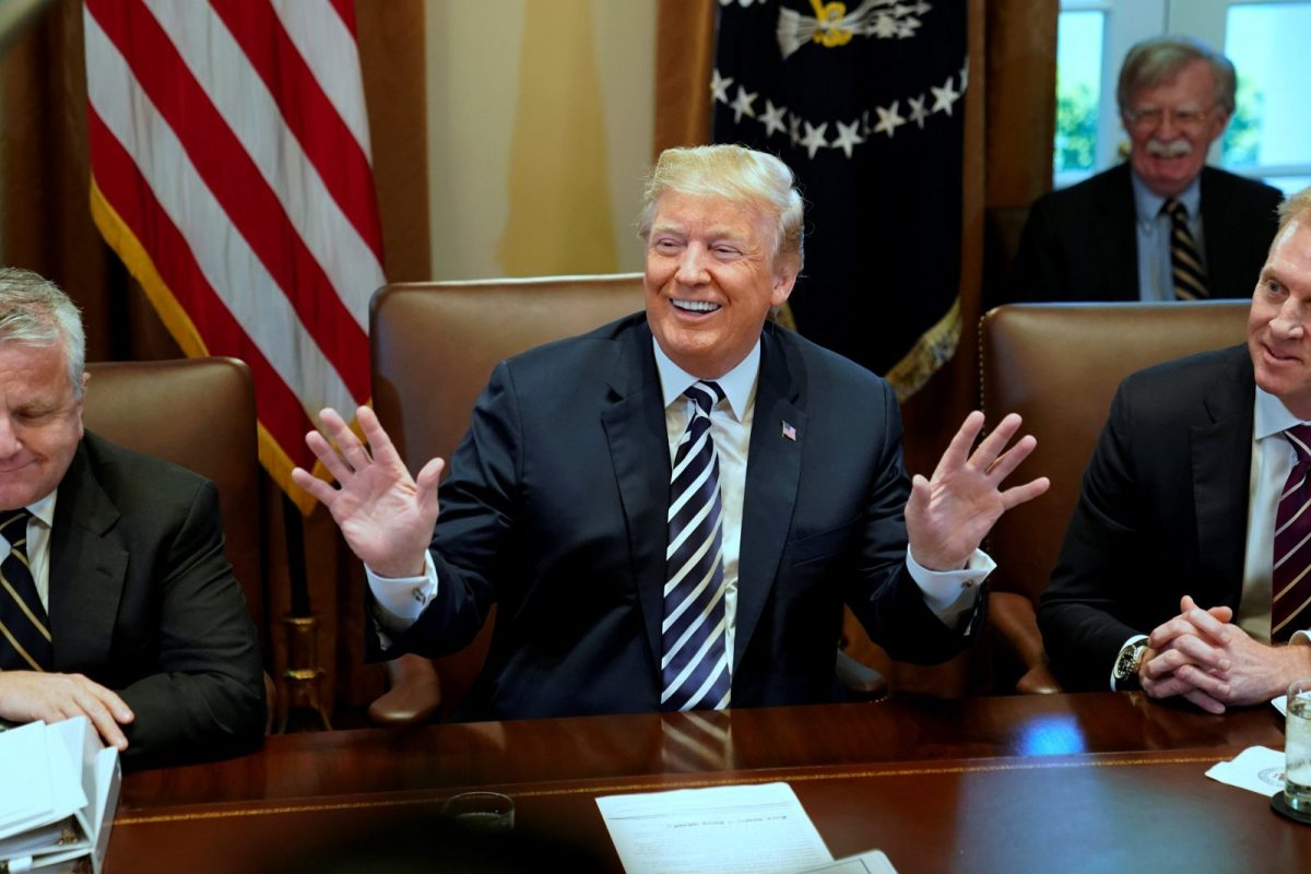 US President Donald Trump during a cabinet meeting at the White House on May 9, 2018. Photo: Reuters/Jonathan Ernst