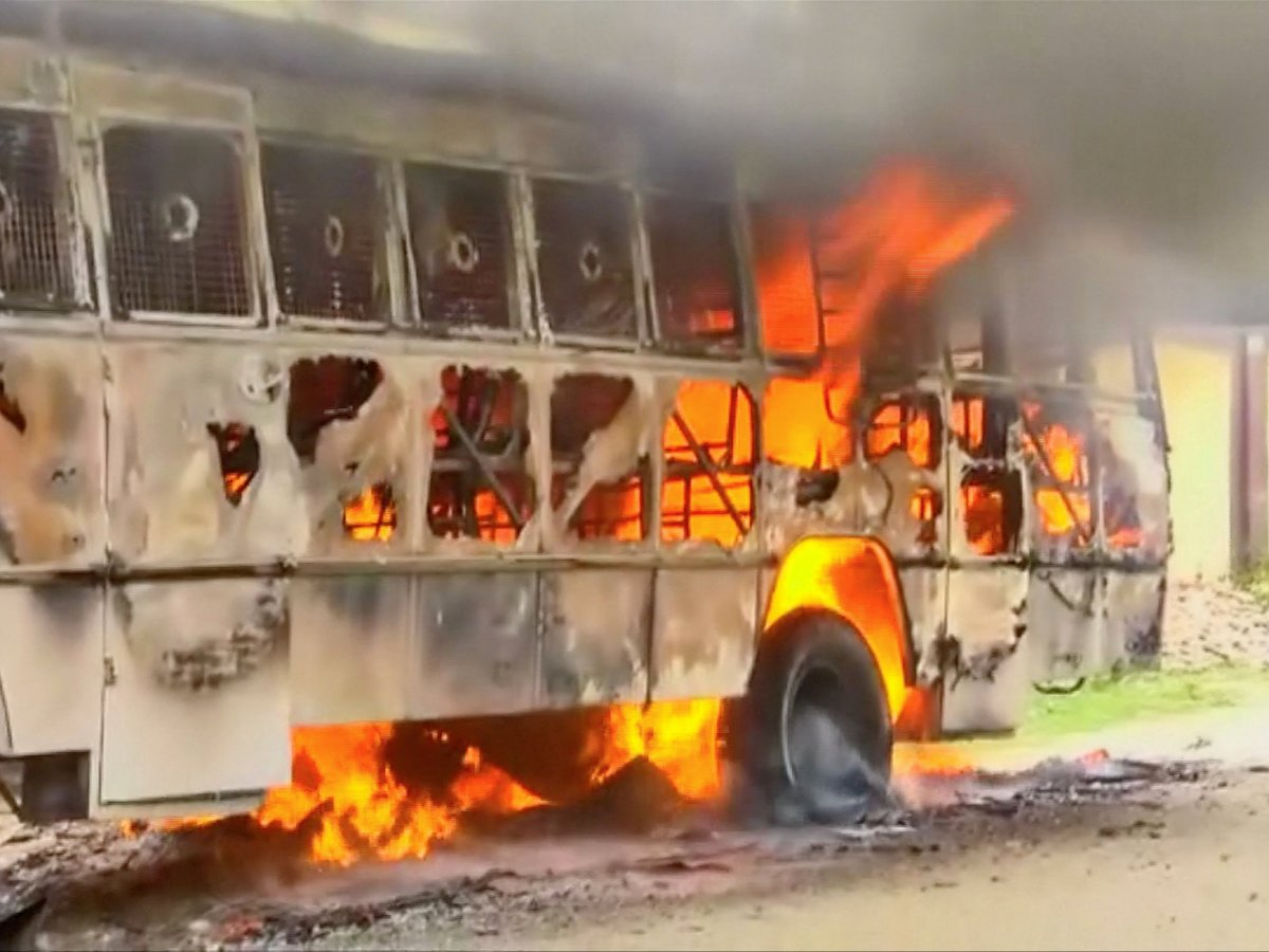 A bus was set ablaze during days of protest against the Sterlite copper smelter in Thoothukudi, Tamil Nadu, in this image from May 23 video footage. Photo: ANI via Reuters TV