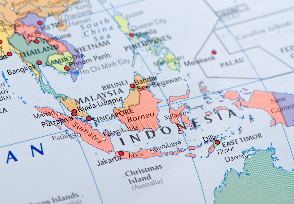 """Focus on Indonesia on the Map. Source: """"World reference atlas"""" Photo: iStock"""