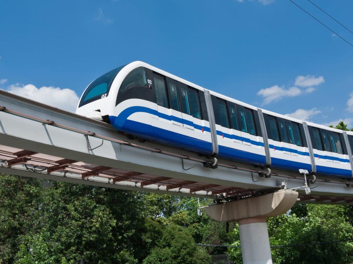 Modern monorail fast train on railway. Photo: iStock