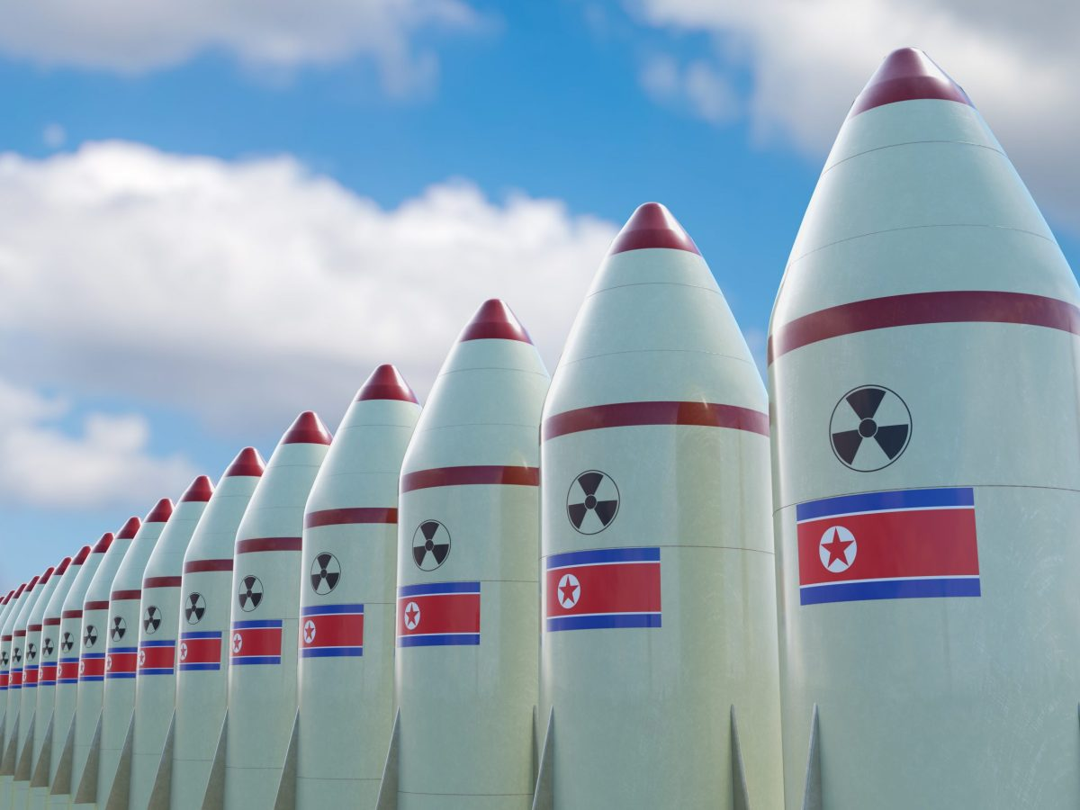 North Korea and the US remain at a dangerous crossroads. An illustration of nuclear missiles lined up with the North Korean flag. Photo: iStock