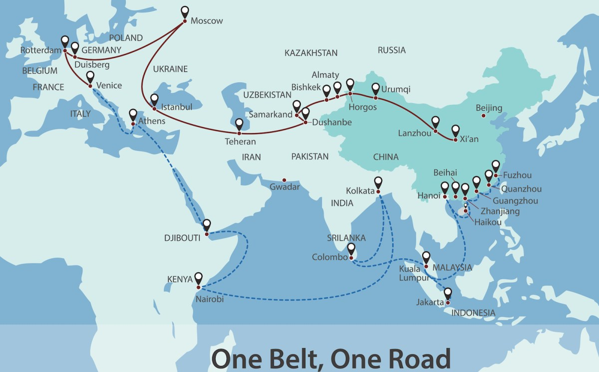 China is aggressively pursuing its One Belt One Road initiative as it seeks to broaden its global influence in the wake of growing American isolationism.Image: iStock/Hakule