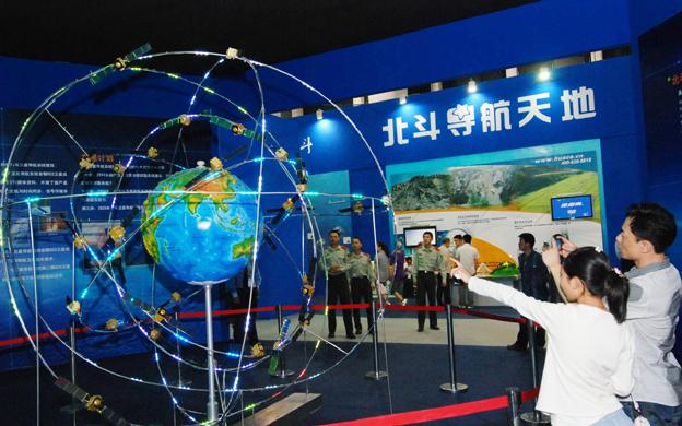 A model of the constellation of BeiDou navigation satellites. Photo: Xinhua