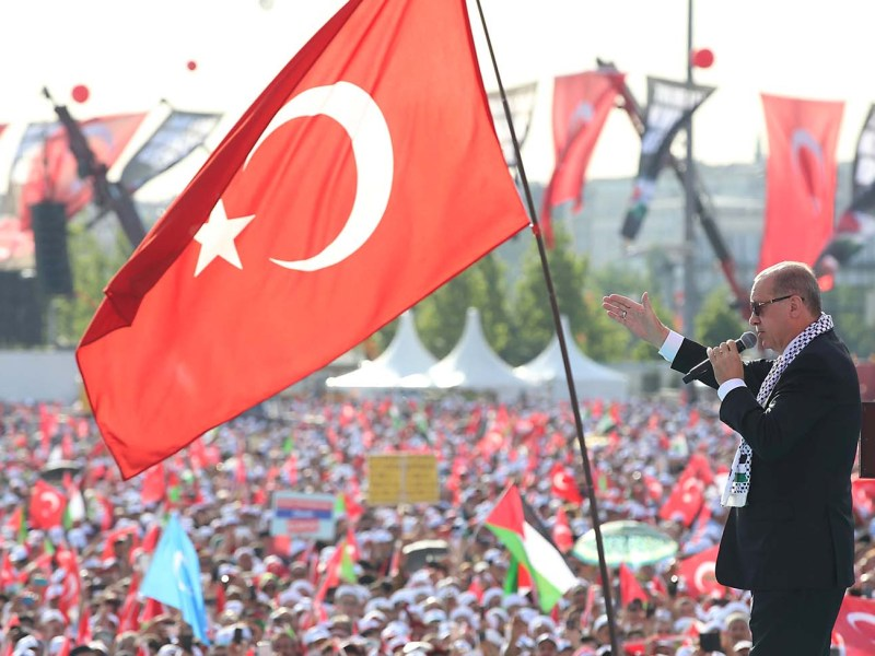 Turkish President Tayyip Erdogan makes a speech during a protest on May 18, 2018 against the recent killings of Palestinian protesters on the Gaza-Israel border and the US embassy move to Jerusalem. Photo: Handout via Reuters