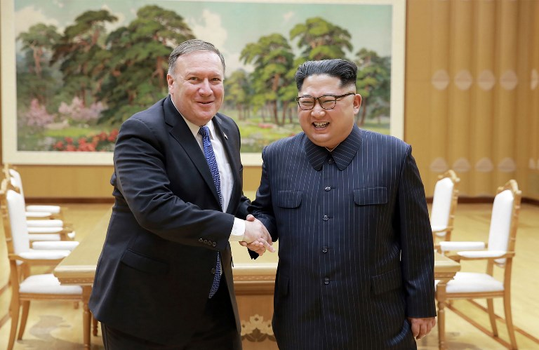 North Korean leader Kim Jong-un meets with US Secretary of State Mike Pompeo. Photo: KCNA via AFP