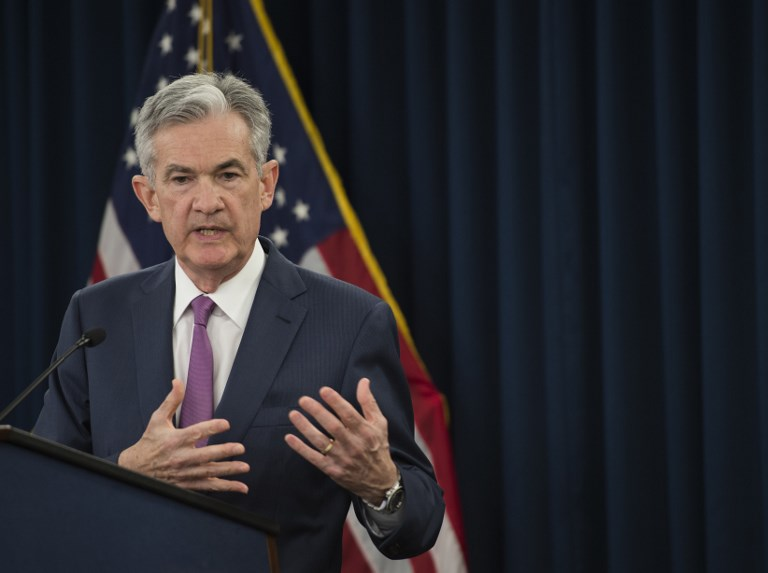 Federal Reserve Board Chairman Jerome Powell speaks during a news conference on Wednesday. Photo: AFP/Andrew Caballero-Reynolds