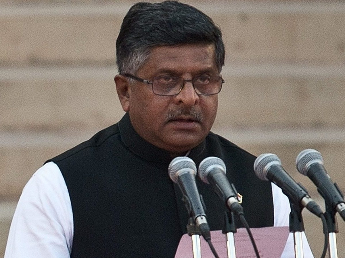 BJP leader and Union Minister for Law and Justice Ravi Shankar Prasad delivering a speech. Photo: AFP