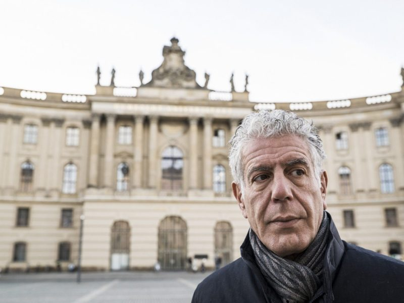 Anthony Bourdain filming CNN's Parts Unknown in Berlin, Germany, on January 5, 2018. Photo: Courtesy David Scott Holloway/CNN.
