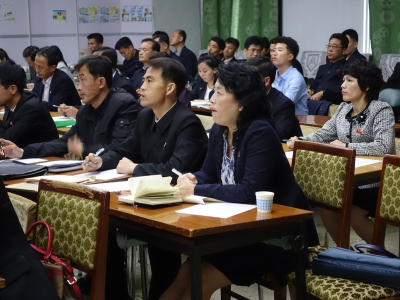 North Koreans attend at a training workshop organized by Choson Exchange in May 2018. Photo: Supplied