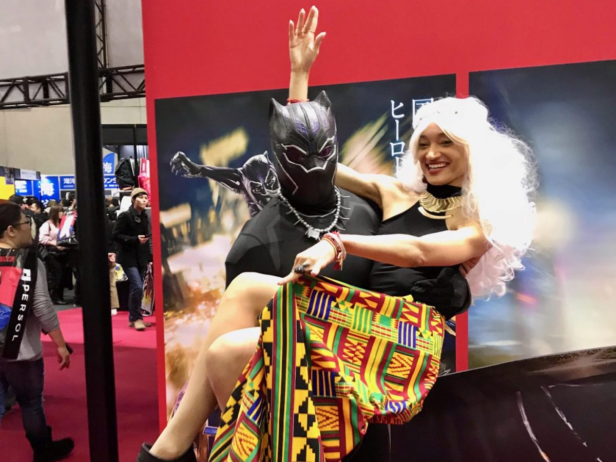 Wakanda Storm and Black Panther are seen at the Tokyo Comic Con 2017. Photo: Jake Adelstein