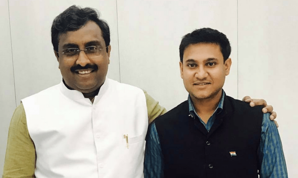 Former BJP member Shivam Shankar Singh, right, is a data scientist and has worked closely with BJP national general secretary Ram Madhav. Photo: Facebook