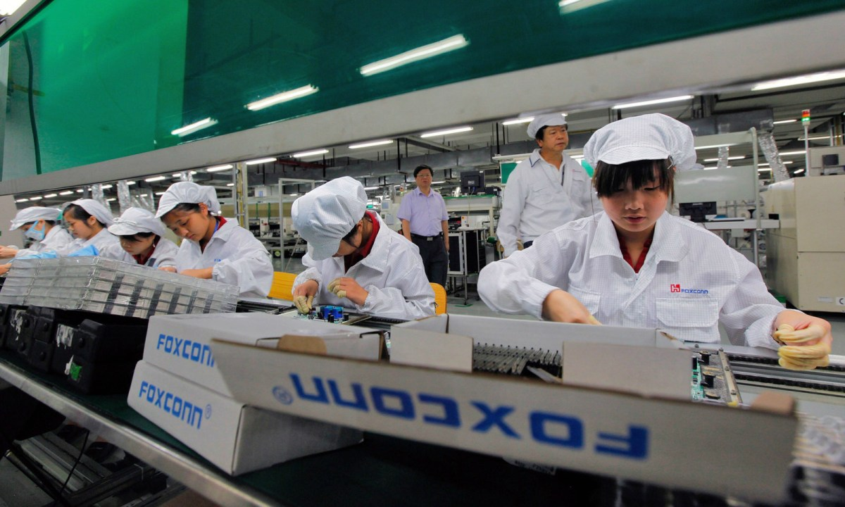 Foxconn workers in Shenzhen have asked for a pay rise. Photo: Xinhua