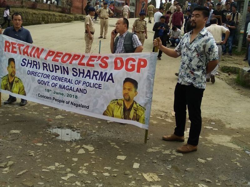 Localites of Nagaland campaign against the wrongful removal of Rupin Sharma as the District General of Police. Photo: Tanvi Kapila.