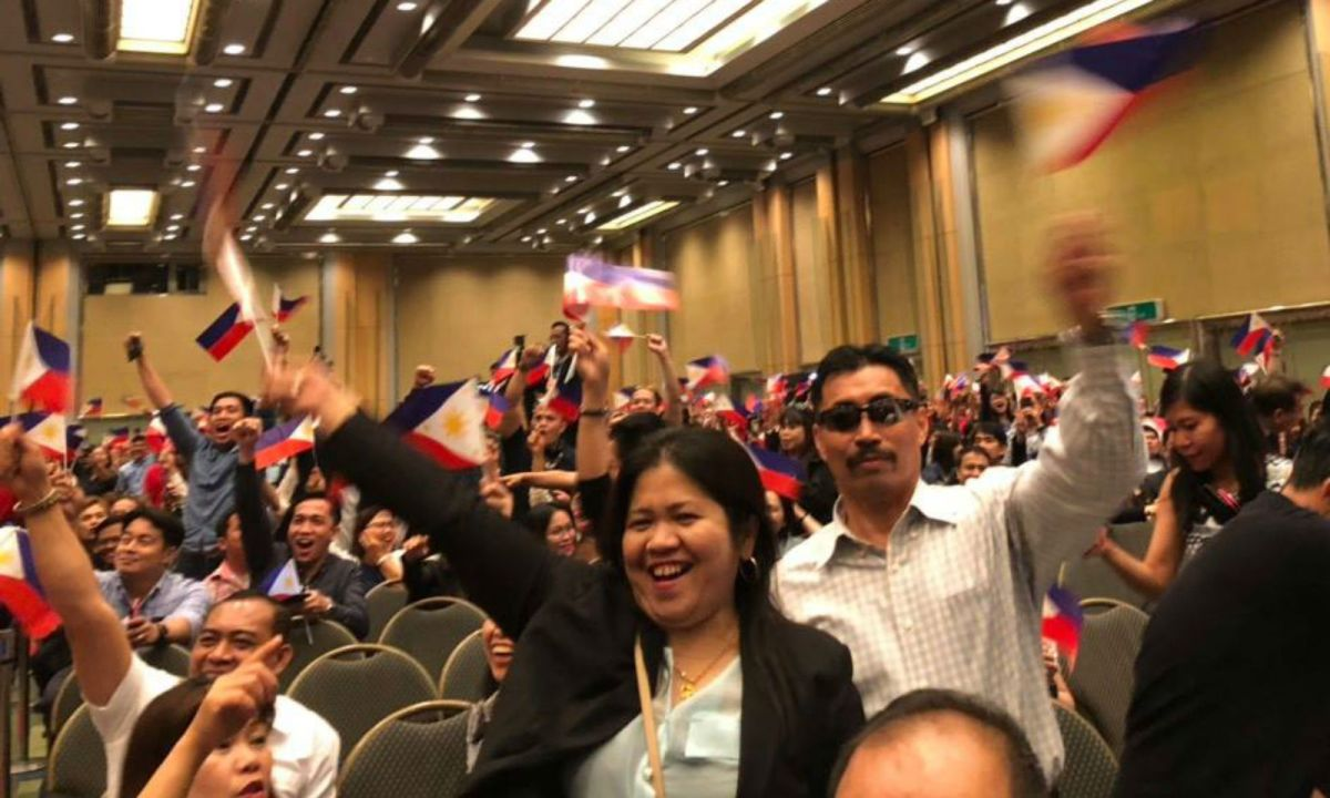 Around 2,000 Filipinos were present at President Rodrigo Duterte's meeting with the Filipino community in South Korea. Photo: Philippine government