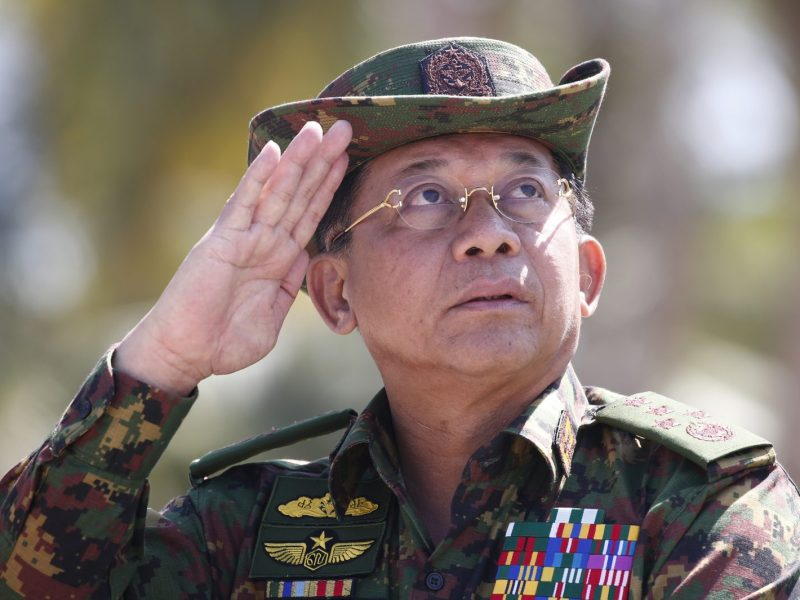Myanmar military chief Senior General Min Aung Hlaing salutes during military exercises in the Ayeyarwaddy delta region in February 2018. Photo: AFP/Pool/STR