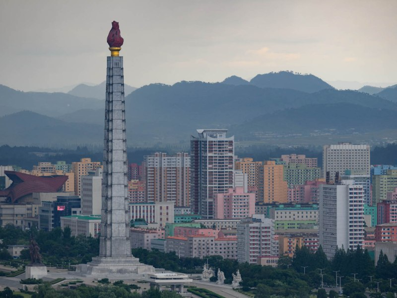 A general view of Pyongyang showing the Juche tower and city skyline on June 11. Photo: AFP/ Ed Jones