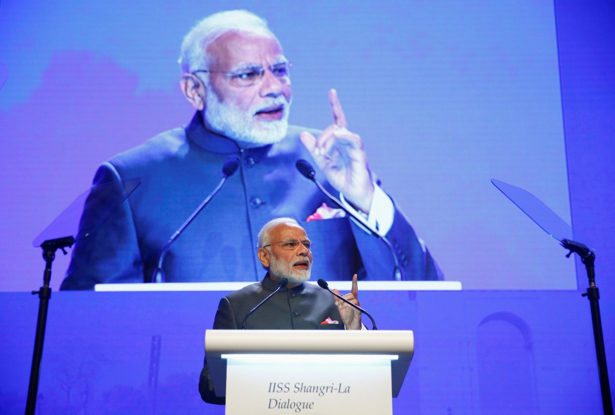 Indian Prime Minister Narendra Modi outlined his vision for the Indo-Pacific region at the IISS Shangri-La Dialogue in Singapore. Modi's speech was at times critical of China's expanding role and behavior in the region.Photo: Reuters/Edgar Su