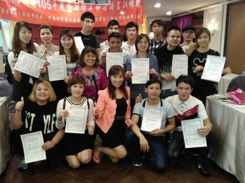 Students from a previous Chinese class. Photo: Labor Affairs Department of the New Taipei City government