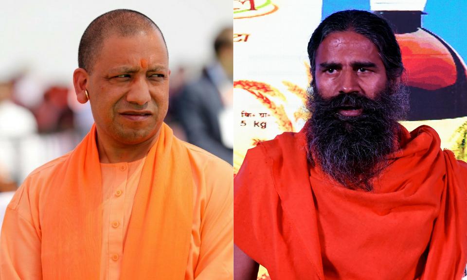 Uttar Pradesh Chief Minister Yogi Adityanath (L) and yoga Guru Baba Ramdev. Photos: AFP