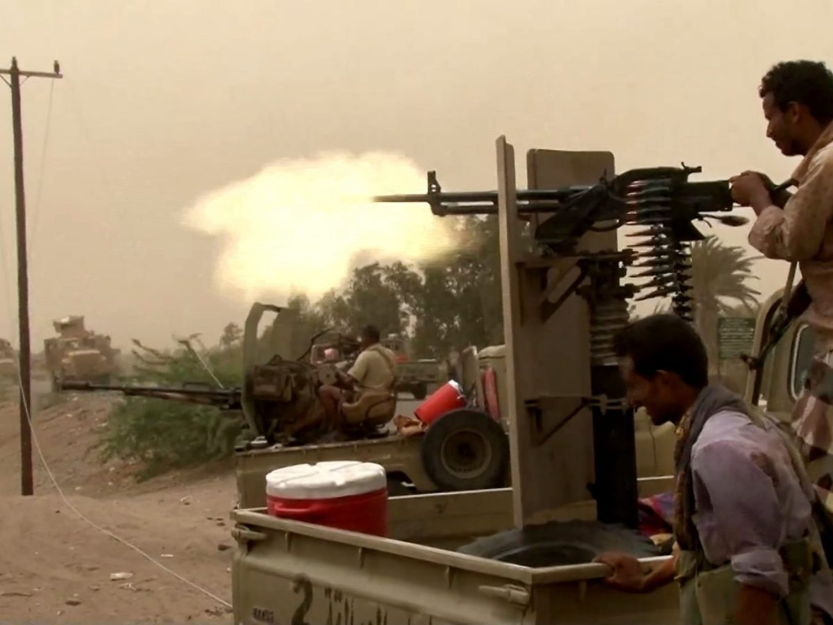 Pro-government forces firing a heavy machine gun at the south of Hodeida airport in Yemen's key aid hub of Hodeida province on June 15, 2018. Photo: AFP/AFPTV