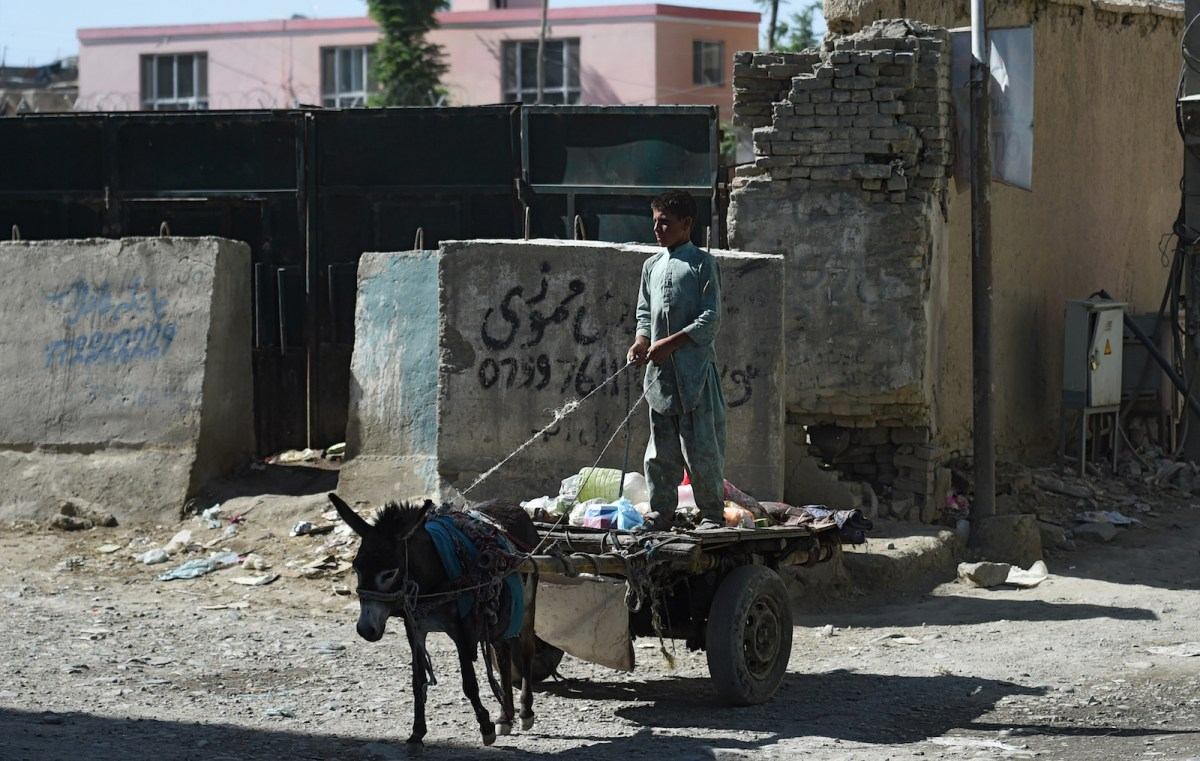 An Afghan boy guides a donkey cart loaded with garbage along a street in Kabul. As the country's civil war grinds on, there is a growing realization that the insurgent Taliban must be part of the peace process if it is to succeed.  Photo: AFP/Wakil Kohsar