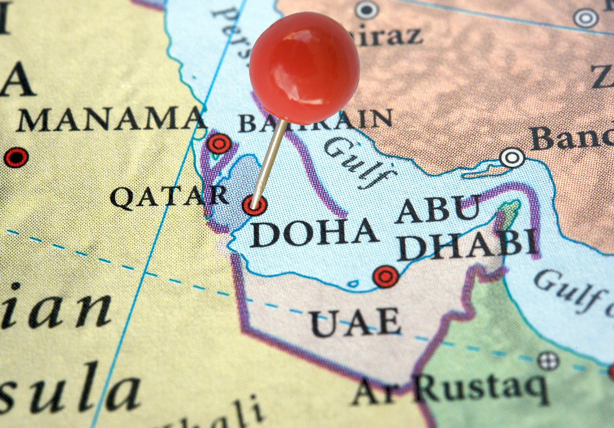 Qatar on a map with a red pin. Photo: iStock