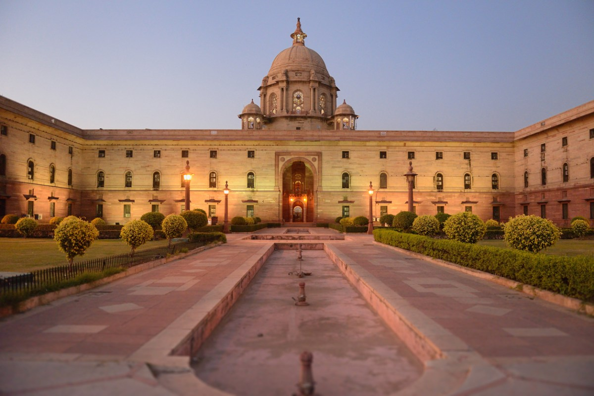 Indian parliment in New Delhi by night. Photo: iStock