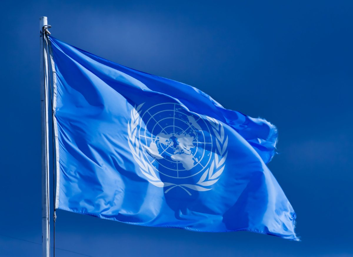 Pristina, Serbia - February 2, 2007: United Nations flag. The United Nations (UN) is an international organization whose stated aims are facilitating cooperation in international law, international security, economic development, social progress, human rights, and achievement of world peace. Photo: iStock