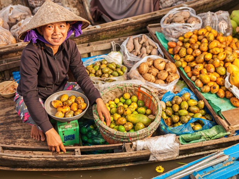 Vietnamese fruits seller on floating market - woman selling fruit from her boat in the Mekong river delta, Vietnam. Photo: iStock