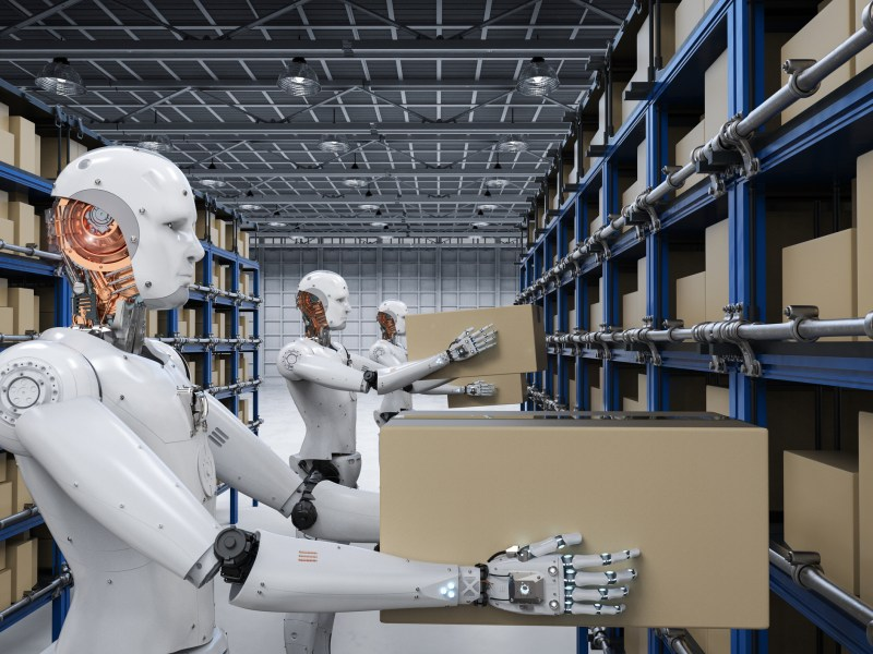 3D rendering humanoid robots carry boxes in warehouse. Illustration: iStock