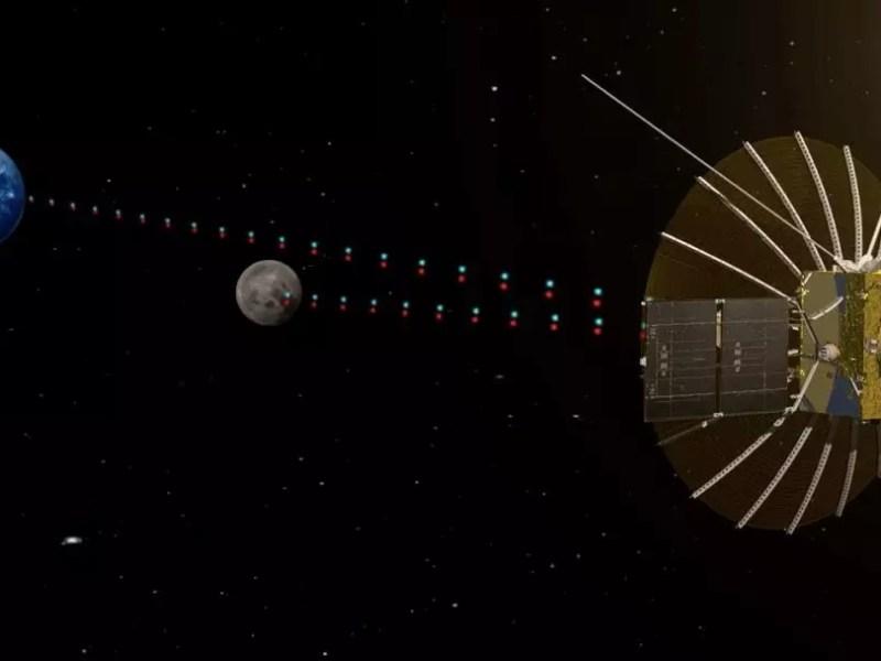 A rendering of the Queqiao satellite performing its communications relay beyond the moon. Photo: Chinese Academy of Sciences