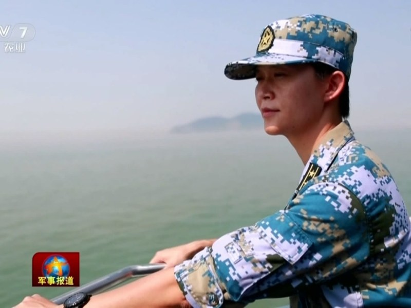 Wei Huixiao is seen on the deck of the PLA Navy's Zhengzhou destroyer. Photo: China Central Television screen grab