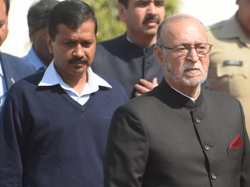 Lieutenant-Governor Anil Baijal (right) and Delhi Chief Minister Arvind Kejriwal at the Delhi Assembly. Photo: The Times of India / Piyal Bhattacharjee
