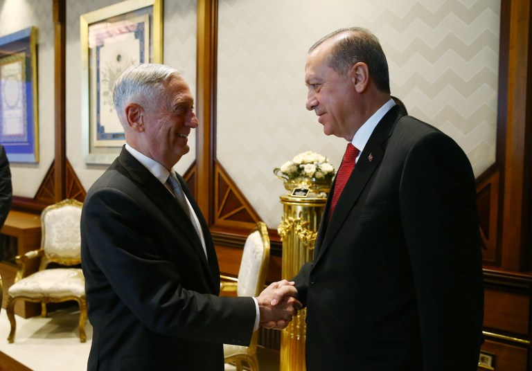 Turkish President Tayyip Erdogan meeting US Defense Secretary Jim Mattis in 2017. Anadolu Agency via AFP