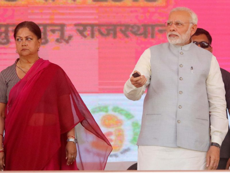 Rajasthan Chief Minister Vasundhara Raje (left) and Prime Minister Narendra Modi at a function in March 2018. Photo: AFP/ NurPhoto