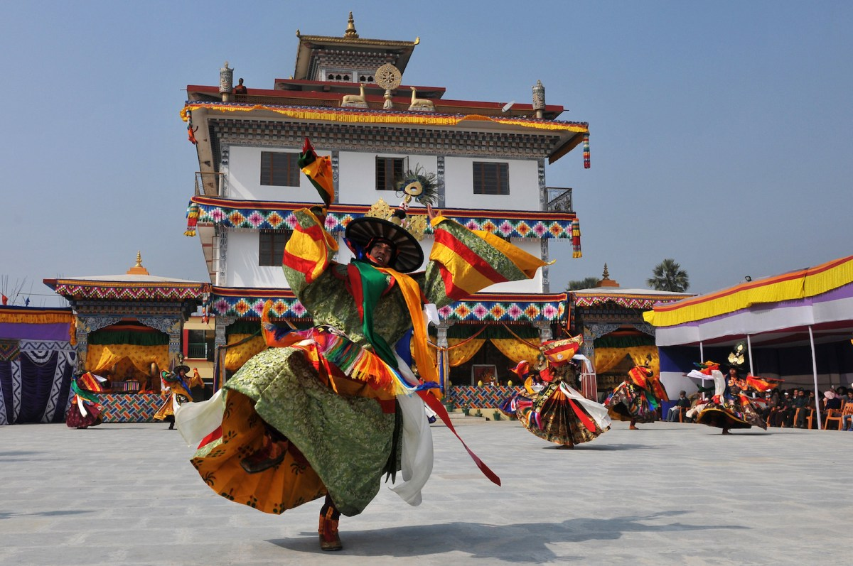 Buddhist monks from Bhutan perform the Black Hat mask dance at the Bhutan temple in Bodhgaya on January 20, 2017. Photo: AFP/Stringer